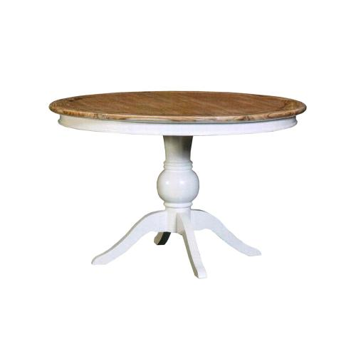 Pedestal Table, Available in White Teak Finish.