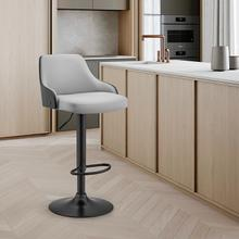 View Product - Asher Adjustable Grey Faux Leather and Black Finish Bar Stool