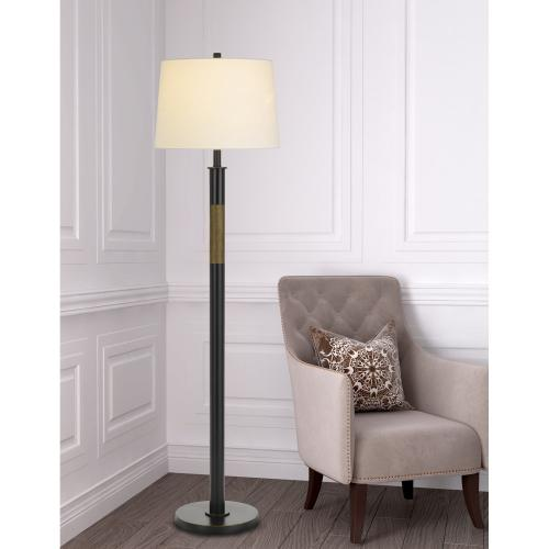150W 3 way Summerfield metal floor lamp with hardback taper drum fabric shade