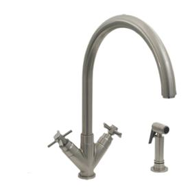 Luxe+ dual-handle faucet with a gooseneck swivel spout, V-shaped cross handles, and a solid brass side spray.