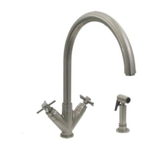 Luxe+ dual-handle faucet with a gooseneck swivel spout, V-shaped cross handles, and a solid brass side spray. Product Image