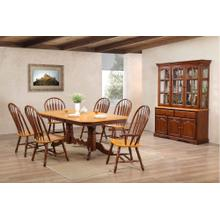 DLU-TCP4284-4130A-22BHNLO9PC  9 Piece Double Pedestal Trestle Dining Set with China Cabinet