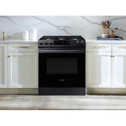 6.0 cu. ft. Front Control Slide-in Gas Range with Convection & Wi-Fi in Black Stainless Steel