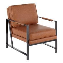 See Details - Franklin Arm Chair - Black Steel, Camel Pu