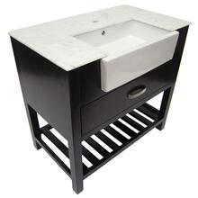 "AB36DR 36"" Dark Walnut Single Farm Sink Bath Vanity with a Drawer and Marble Countertop"