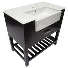 """View Product - AB36DR 36"""" Dark Walnut Single Farm Sink Bath Vanity with a Drawer and Marble Countertop"""