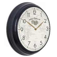 See Details - WORLD TRAVELER  19in w X 19in ht X 4in d  Black Metal Wall Clock with World Map Face