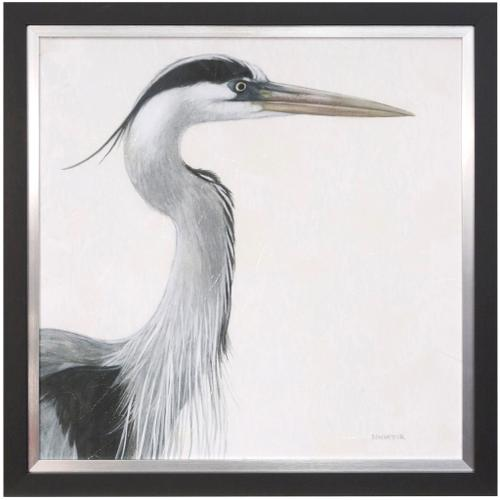 Style Craft - BLUE HERON STUDY  35in w X 35in ht  Textured Framed Print  Made in USA