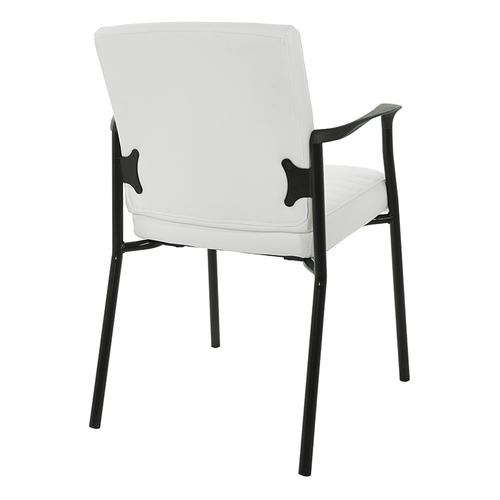 Guest Chair In White Faux Leather With Black Frame