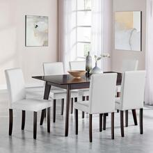Prosper 7 Piece Faux Leather Dining Set in Cappuccino White