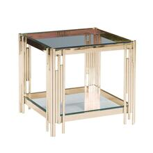 2-tier Gold/glass Accent Table, Kd