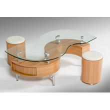Modrest C200 Modern S-Shaped Coffee Table W/ 2 Poufs