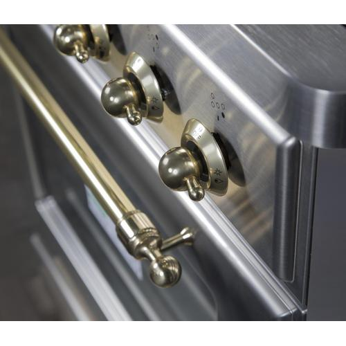 Majestic II 30 Inch Dual Fuel Natural Gas Freestanding Range in Stainless Steel with Brass Trim