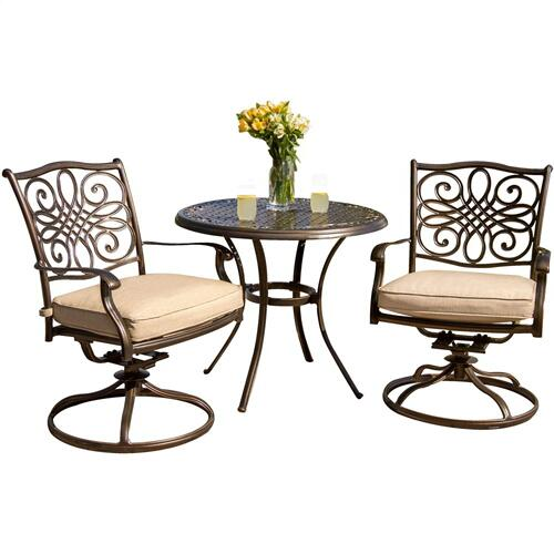 Hanover Traditions 3-Piece Bistro Dining Set with Two Alumicast Swivel Rockers and a 32 in. Round Table, TRADITIONS3PCSW