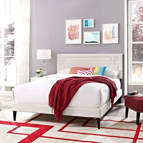 Modway - Ruthie Queen Vinyl Platform Bed with Squared Tapered Legs in White