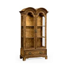 Queen Anne pollard veneer bookcase with glazed doors