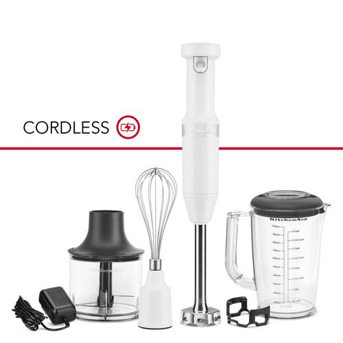 Cordless Variable Speed Hand Blender with Chopper and Whisk Attachment - White