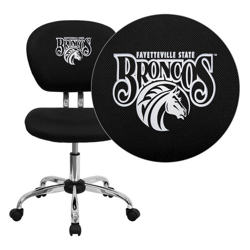 Fayetteville State University Broncos Embroidered Black Mesh Task Chair with Chrome Base