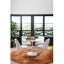 Aubreita Dining Chair In White Faux Leather With White Legs