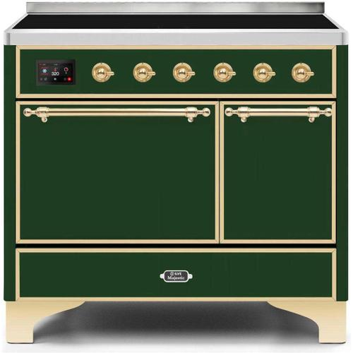 Product Image - Majestic II 40 Inch Electric Freestanding Range in Emerald Green with Brass Trim
