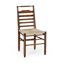 Dark Oak Ladder Back Country Side Chair with Rushed Seat