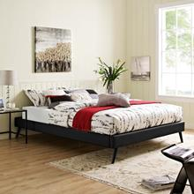 View Product - Loryn Queen Vinyl Bed Frame with Round Splayed Legs in Black