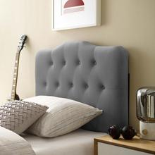 View Product - Annabel Twin Diamond Tufted Performance Velvet Headboard in Gray
