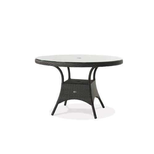 """Palm Harbor 48"""" Round Dining Table w/Clear Glass & Umbrella Hole"""