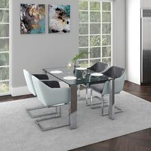 Frankfurt/Modena 5pc Dining Set, Chrome/Grey