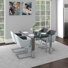 Frankfurt/Modena 5pc Dining Set, Chrome/Grey
