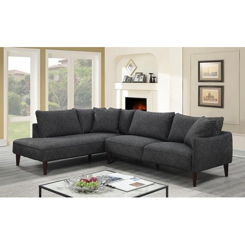 Porter International Designs - Asher Charcoal Sectional with LHF Chaise, U5205