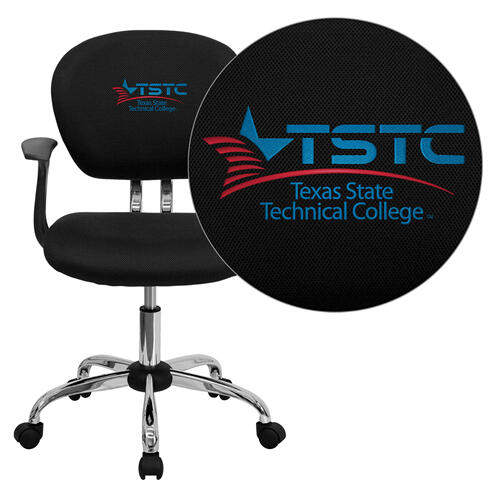 Texas State Technical College Embroidered Black Mesh Task Chair with Arms and Chrome Base