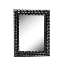 See Details - Black Wood Beaded Framed Wall Mirror