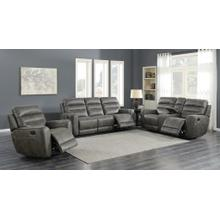 Sintra Charcoal Faux Leather Manual Reclining Set with Sofa, Loveseat, and Reliner