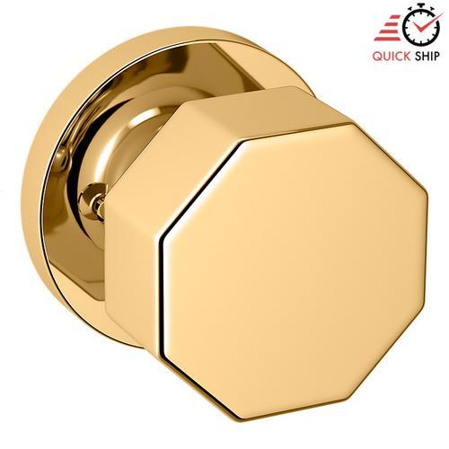Baldwin - Non-Lacquered Brass 5073 Estate Knob with 5046 Rose