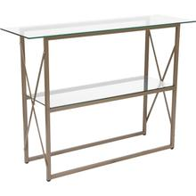 View Product - Mar Vista Collection Glass Console Table with Matte Gold Frame