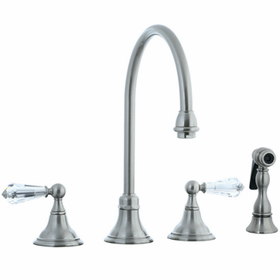 Asbury - 4-Hole Widespread Gooseneck Kitchen Faucet without Side Spray - Brushed Nickel