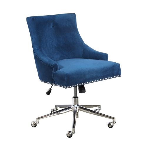 Accentrics Home - Luxe Button Back Office Chair in Navy Blue Velvet