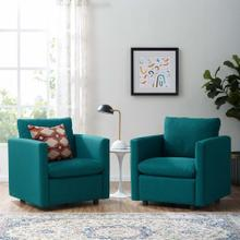 Activate Upholstered Fabric Armchair Set of 2 in Teal