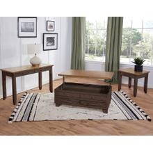 Bear Creek 3-Piece Lift-Top Cocktail Set, Brown (Lift-Top Cocktail & 2 End Tables)