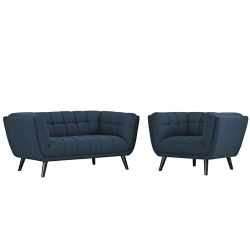 Bestow 2 Piece Upholstered Fabric Loveseat and Armchair Set in Blue