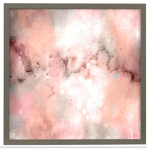 Style Craft - Blush Tones  Made in USA  Artist Print  Faux Wood Frame Under Glass  Attached Hanging Hardware
