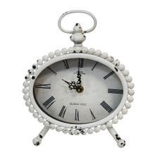 "7.75"" X 3"" X 9.25"" White Stunning Timepiece Table Clock"