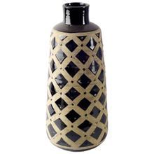 See Details - Finrod II Tall Earthy-Brown Gloss Ceramic Lattice Vase