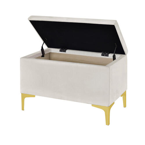 Accentrics Home - 29 Inch Hinged Top Storage Bench w/ Grid-Tufted Seat in Ivory