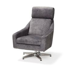 Abbott I Gray Velvet Covered Seat and Silver Metal Pedestal Rotating Accent Chair