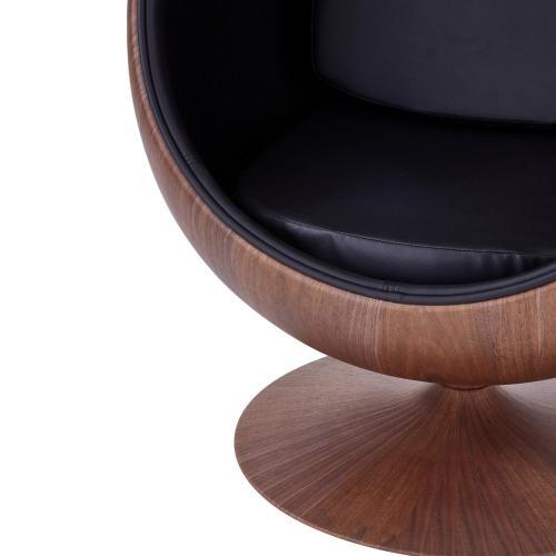 Clovis PU Cocoon Chair Dark Walnut Frame, Monaco Black