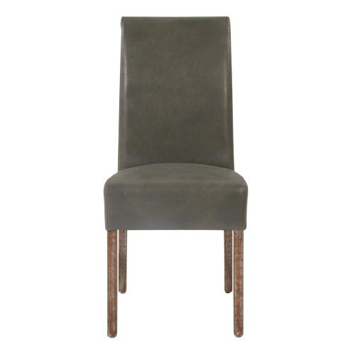 Product Image - Valencia Bonded Leather Dining Side Chair Drift Wood Legs, Vintage Gray