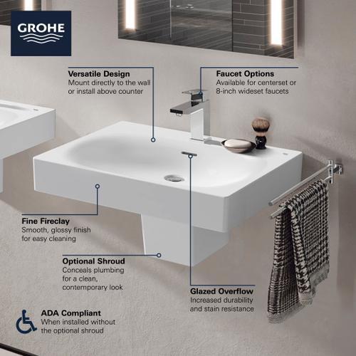 "Eurocube Wall Mount 24"" Bathroom Sink, 1-hole"