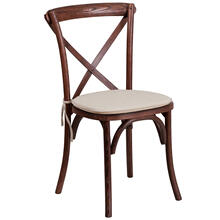Stackable Mahogany Wood Cross Back Chair with Cushion